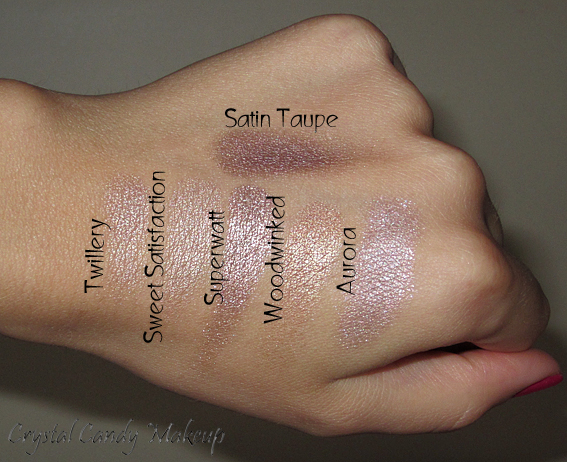 Twillery, Sweet Satisfaction, Superwatt, Woodwinked, Aurora, Satin Taupe (MAC)