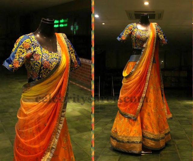 Orange Half Saree by Swathi