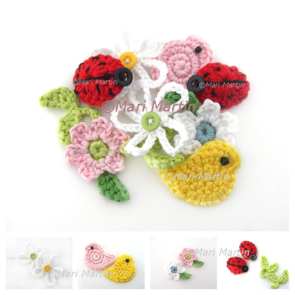 Spring crochet applique