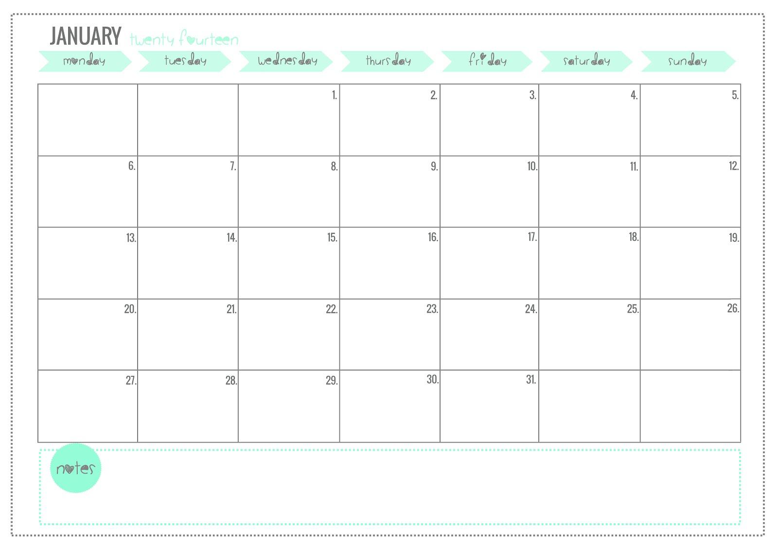 2014 Blogging Calendar