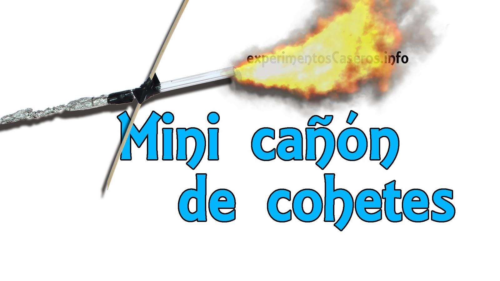 Mini cañón lanza cohetes, inventos caseros, experimentos de física, experimento, experimentos caseros