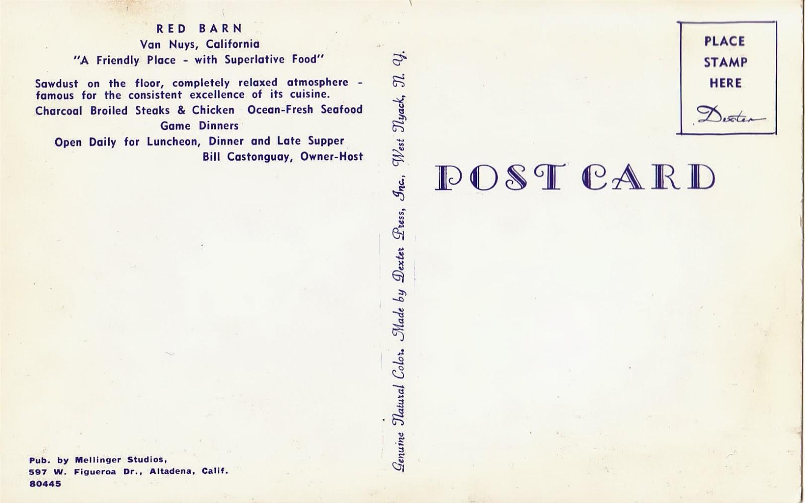 Celebrity Homes: Red Barn Restaurant in Van Nuys Postcard