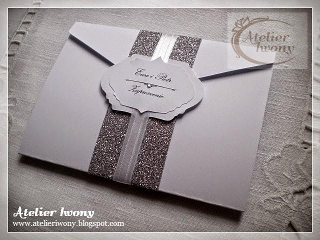 zaproszenia ślubne srebrne, silver wedding invitations, brokatowe zaproszenia, brokat, koronka, wykrojnik, cyrkonia, wstążka i kokarda, ruban, ribbon and bow