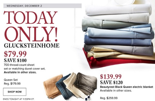 Hudson's Bay One Day Deal Glucksteinhome Sheets & Electric Blanket