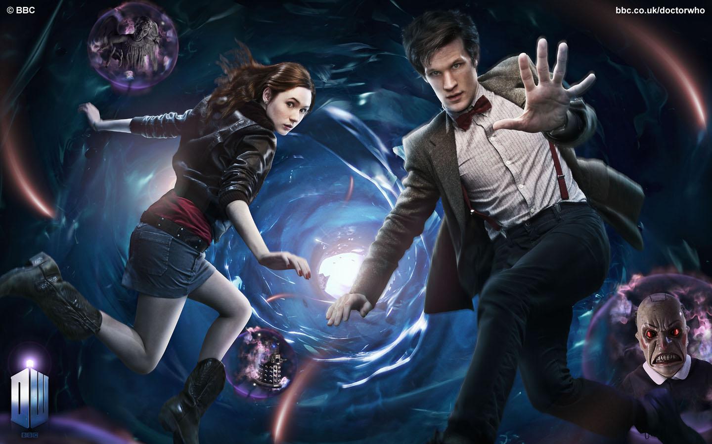 Matt Smith As 11th Doctor With His Companion Amelia Pond Karren Gillian