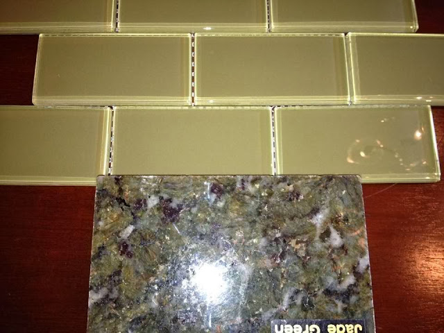 green-glass-tile, jade-green-granite