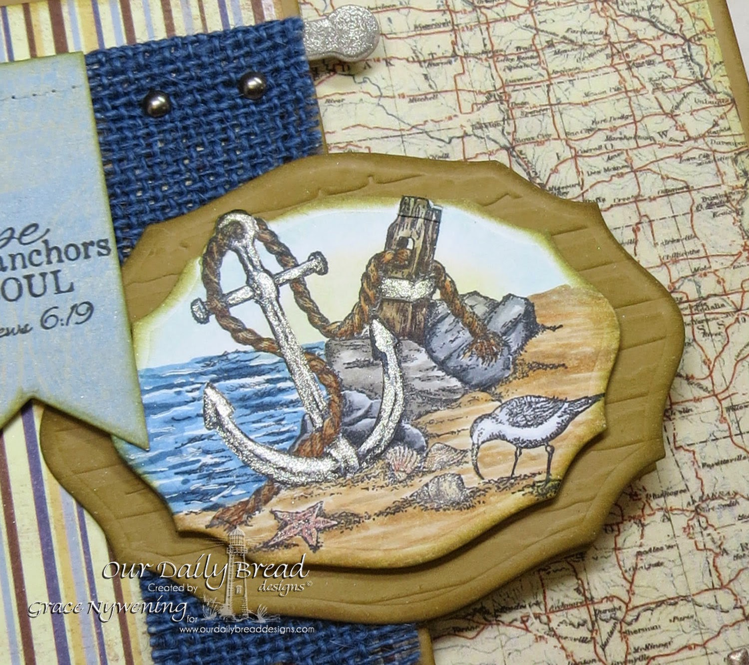 ODBD stamps: Anchor the Soul, Pennant Dies, Elegant Oval dies, designed by Grace Nywening