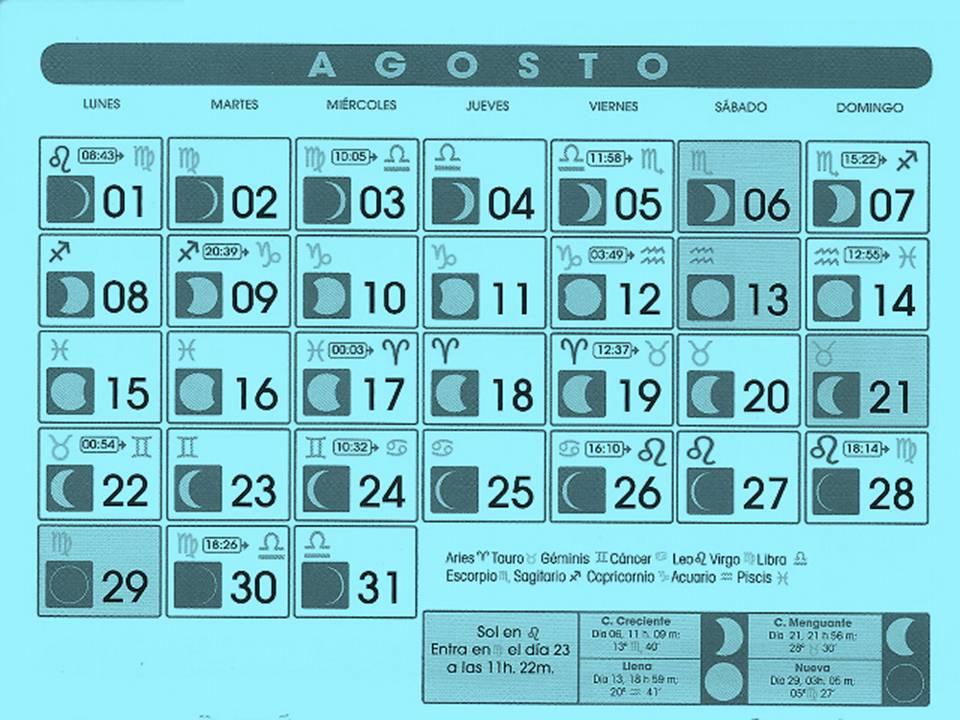 Astrologia infinita calendario lunar agosto 2011 for Fases lunares del 2016