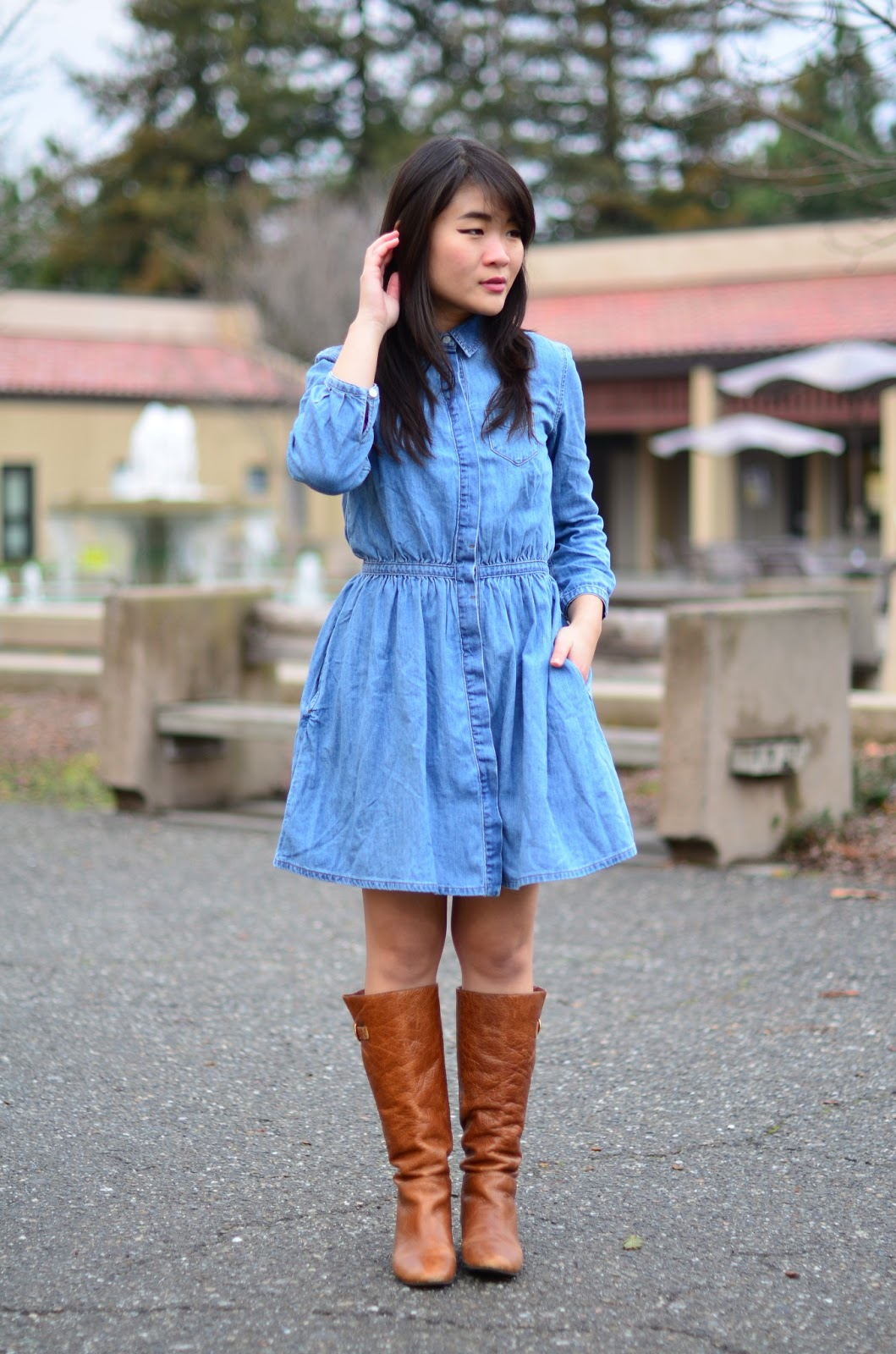 madewell polka dot scarf, brown leather jacket, denim dress, chambray dress, brown boots, how to wear a denim dress, how to wear a chambray dress