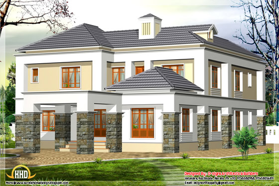 2600 square feet, 4 bhk, Western house elevation