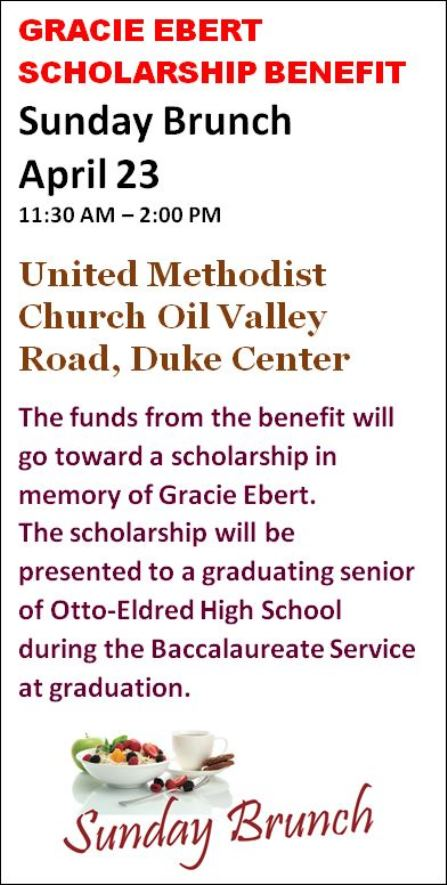 4-23 Gracie Ebert Scholarship Benefit
