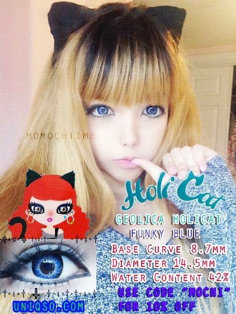 Geolica Holicat Funky Blue Contact Lenses: Trimonthly Contacts
