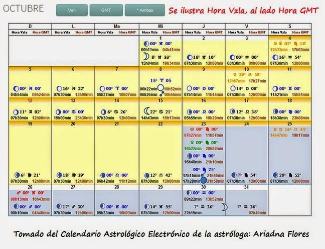 CALENDARIO MES OCTUBRE 2014