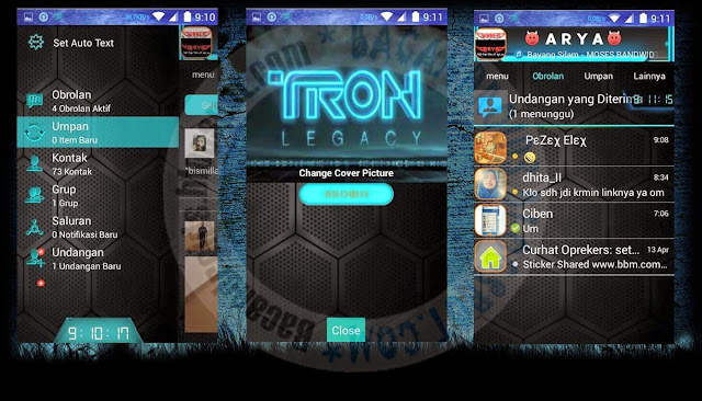 download BBM Mod tema Tron Legacy 2.8.0.21