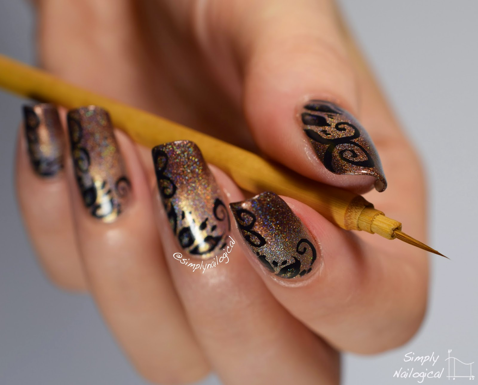 Chinese sumi brush nail art