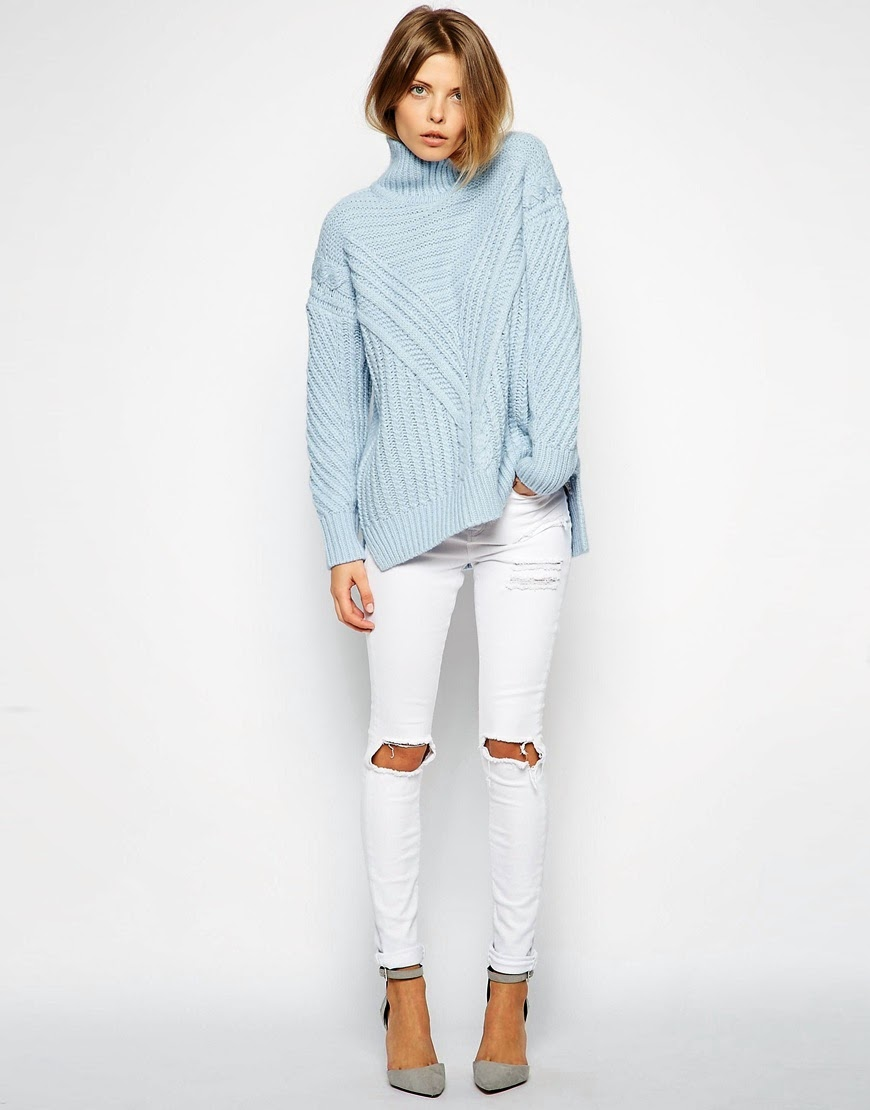 light blue turtle neck jumper