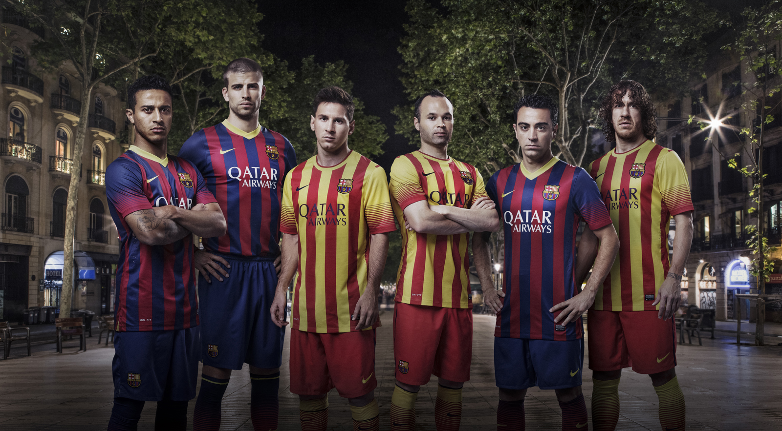 Fc barcelona 13 14 home away kits released third kit for Oficina qatar barcelona