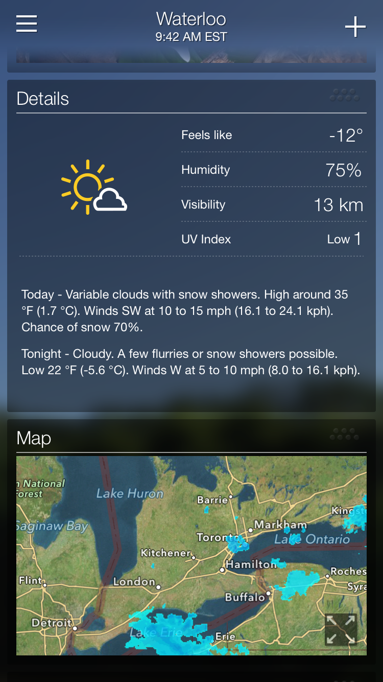 Yahoo Weather app screen example