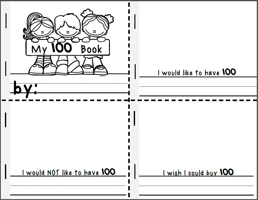 100th Day of School Border 100th Day of School Book