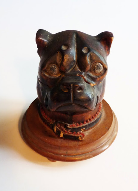 victorian bulldog inkwell