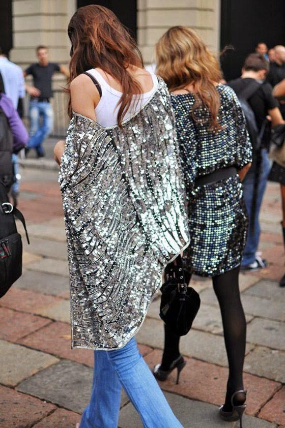 Tendência  moda lantejoulas e metalizados