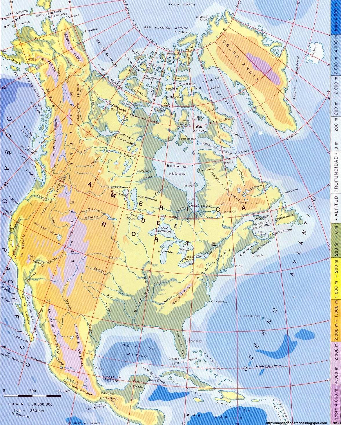 Mapa Orografico De America Del Norte