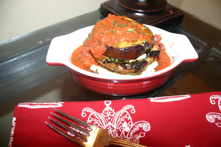 Grilled Eggplant and Portabello Napoleon with fresh tomato sauce and Tofu Ricotta