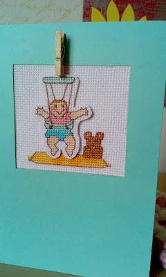 вышитая открытка, открытка с прищепкой, открытка вышитая крестиком