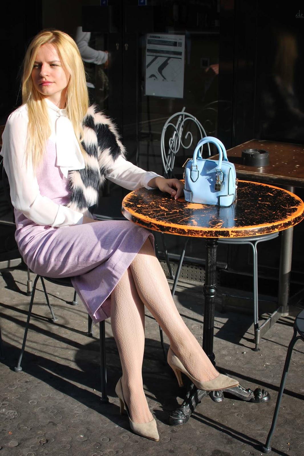 faux fur scarf outfit, стола из искусственного меха,модный блог