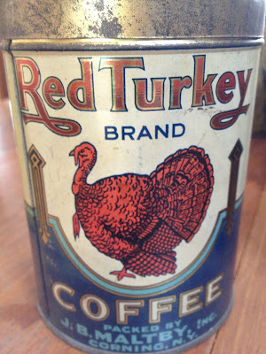 Red Turkey Brand Coffee Tin packed by J. B. Maltby, Corning New York
