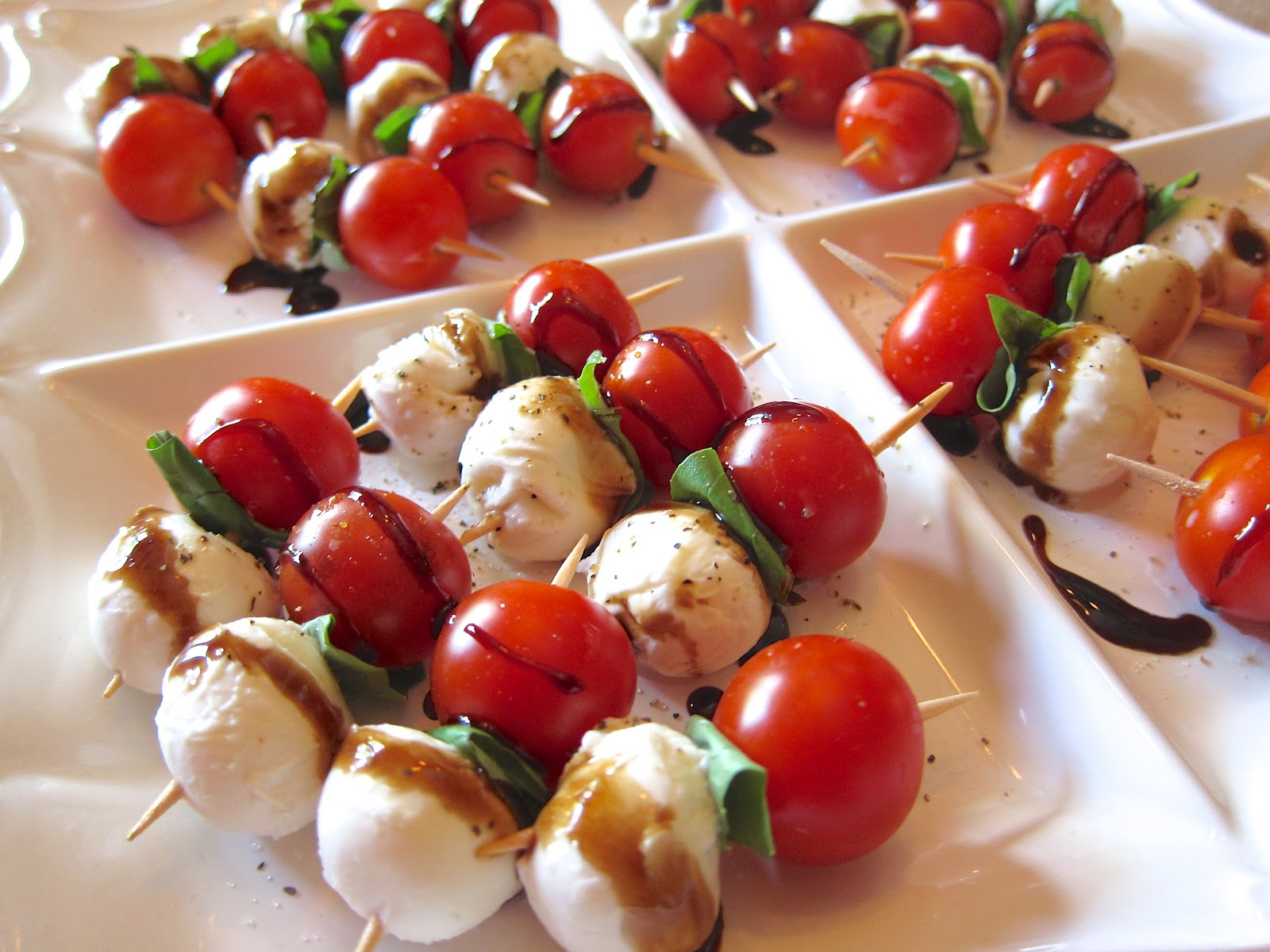 Caprese Skewers Pesto Caprese Skewers With Balsamic