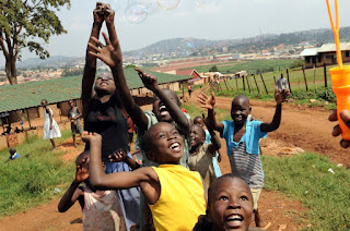 African children playing happy