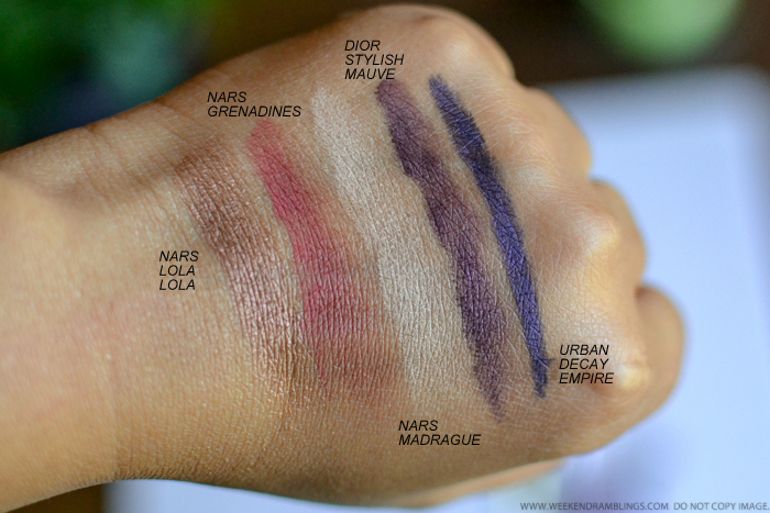 Makeup Swatches - NARS Eyeshadows Lola Lola Madrague Grenadines Dior Stylish Mauve Urban Decay Empire Eyeliner Pencil