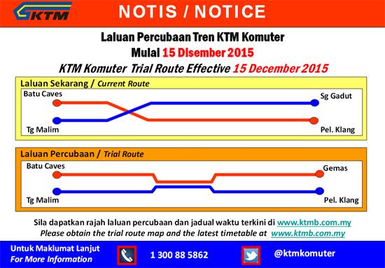 Laluan Baru Percubaan KTM Komuter 15 Disember 2015