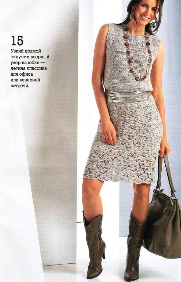 платье крючком с ажурной юбкой, схема