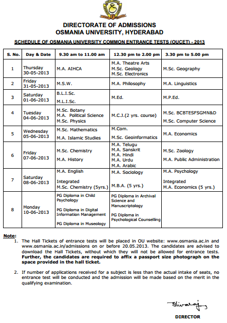 OUCET 2013 Time Table  Download Osmania University 2013
