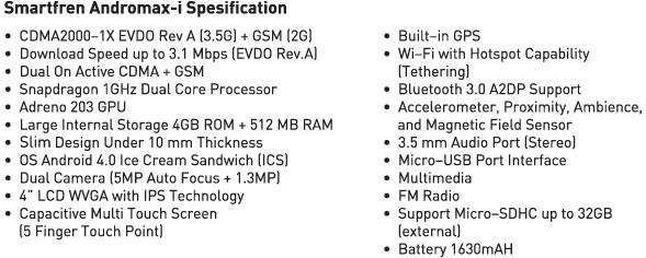 Spesifikasi SmartFren Andromax i 4.0