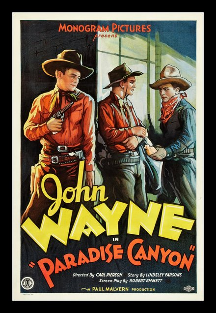 free printable, printable, classic posters, free download, graphic design, movies, retro prints, theater, vintage, vintage posters, western, Paradise Canyon, Jon Wayne - Vintage Western Cowboy Movie Poster