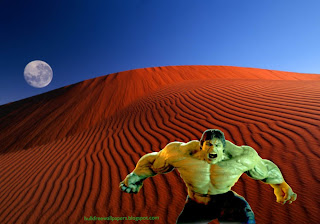 The Incredible Hulk Desktop Wallpapers Hulk Fighting Monster in Red Moon Desert wallpaper