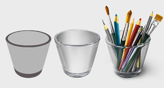 Tutorial for creating icons cup with brushes and pencils
