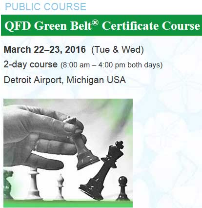 QFD Green Belt® Course, March 22-23, 2016, DTW Michigan