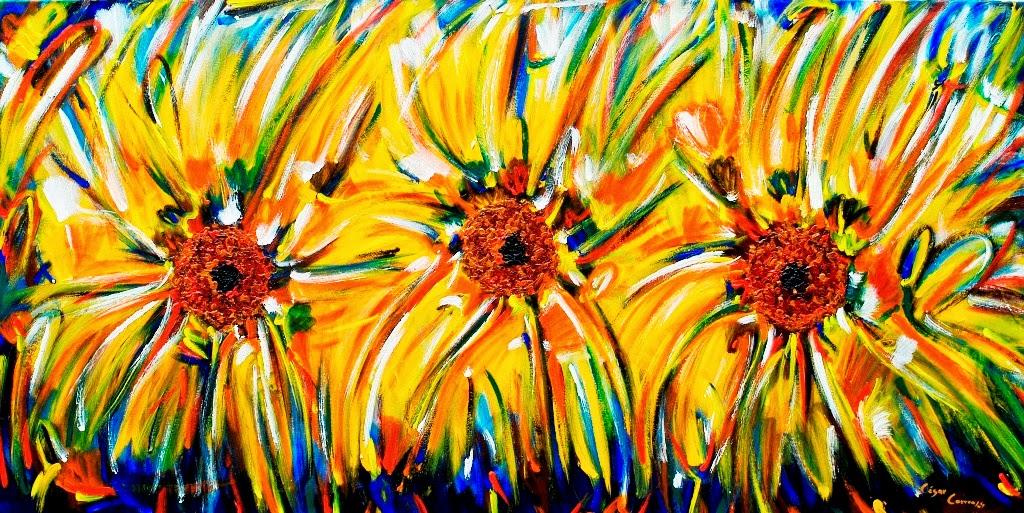 pinturas-al-oleo-de-flores-girasoles