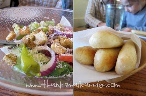 Olive Garden salad breadsticks