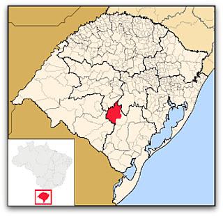 Cidade de Caçapava do Sul, no mapa do Rio Grande do Sul
