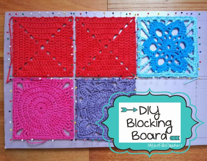 make your own blocking board for crochet or knitting granny squares