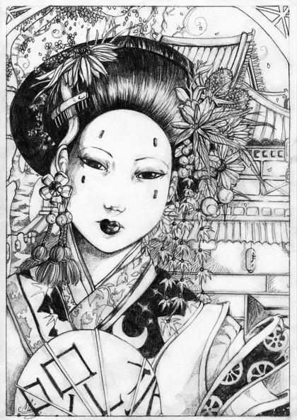Kimono Girl Coloring Pages Moreover Numbers 1-10 Worksheets For ...