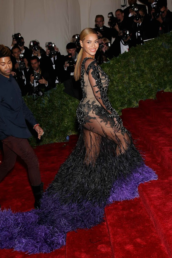 Beyonce in a pecock gown at the 2012 Costume Institute Gala