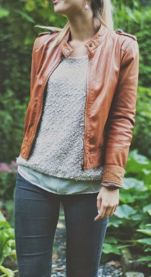 Fall fashion with jacket, sweater and loose top