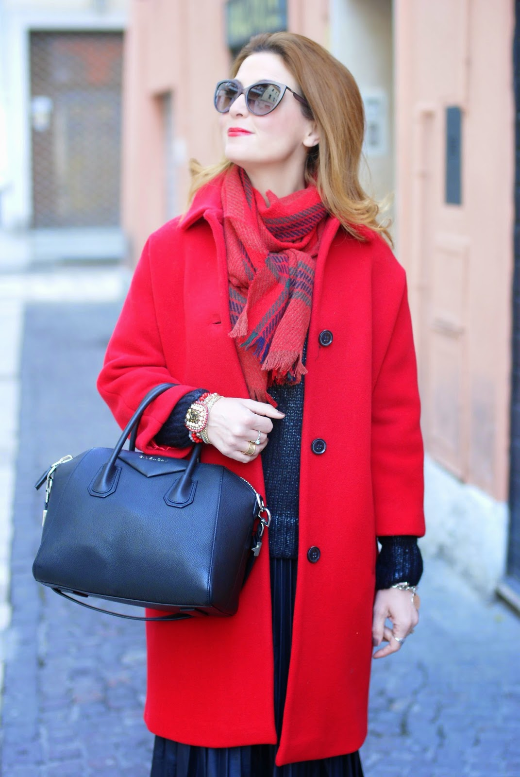 red Kiomi coat, Baracuta scarf, Givenchy Antigona bag, Moschino sunglasses, Fashion and Cookies, fashion blogger