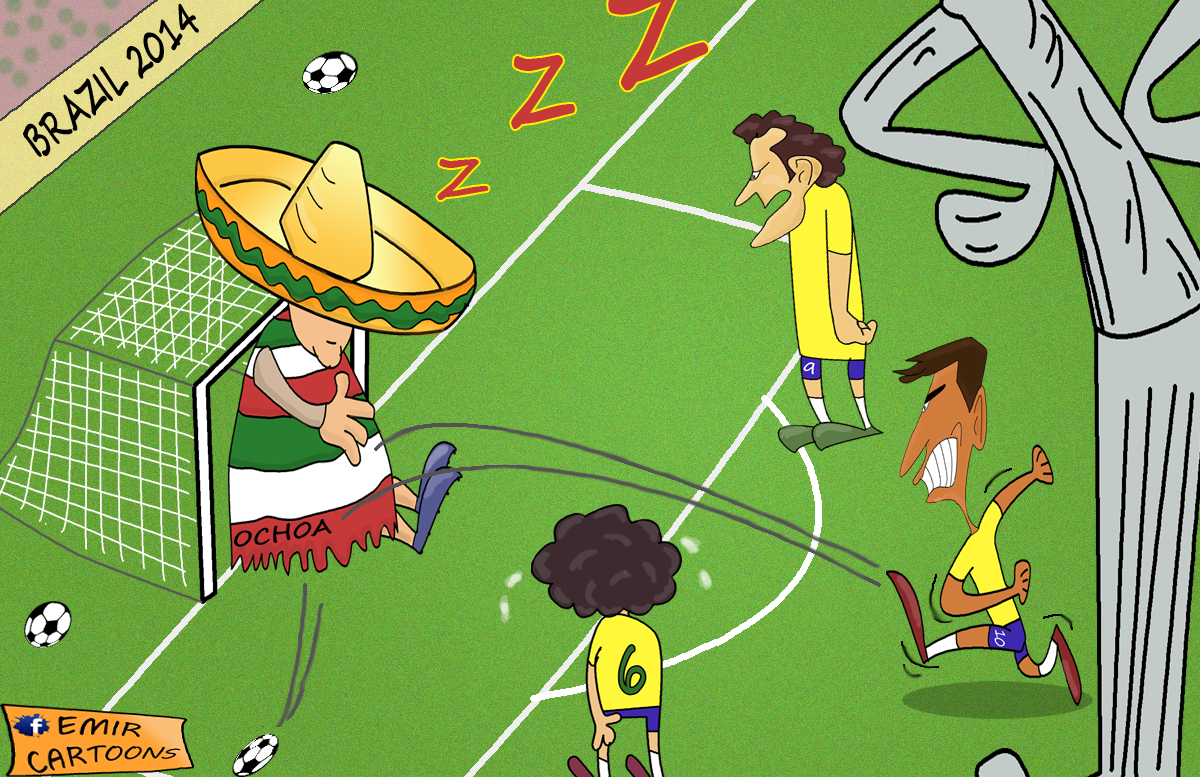 Ocoha Brazil,Ocoha meksiko, emir cartoons, fudbal karikature,karikatura dana,omar momani karikature, svjetsko prvensto, mundijal, brazil,